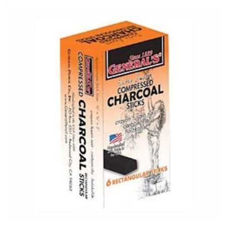 Pencil Charcoal Drawings - GENERAL PENCIL CO., INC. 9606B COMPRESSED CHARCOAL RECTANGLE STICKS 6B 6/BOX