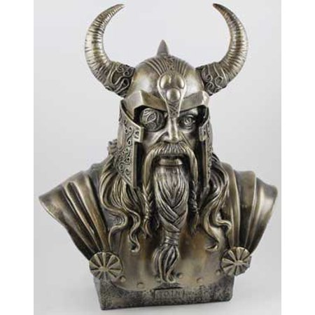 Norse Statue Odin Ruler of Asgard Bust in Detail Horned Helm Eye Patch Braided Beard Made of Hand Painted Resin with Bronze Colored Finish (Hgrn Paint)
