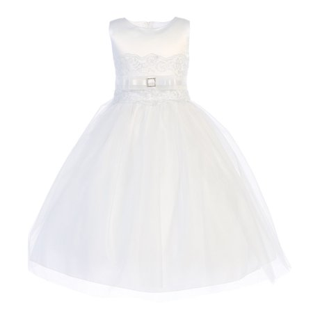 Girls White Satin Embroidered Tulle Tea-Length Communion Dress 12