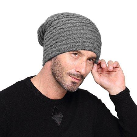 dfc1c614 Vbiger Men Warm Knitted Hat Winter Slouchy Beanie Skull Slouch Cap for Men,  Grey - Walmart.com