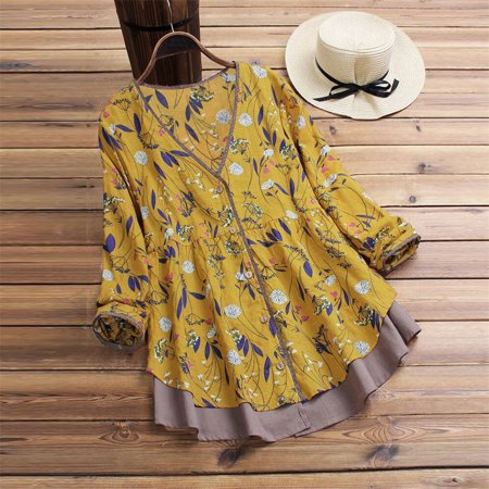 Womens Loose Long Sleeve Casual Blouse Shirt Tunic Tops Fashion Blouse Pullover Yellow -
