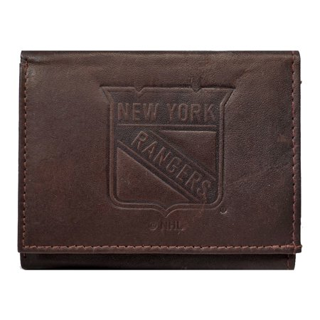 New York NY Rangers NHL Embossed Logo Dark Brown Leather Trifold Wallet ()