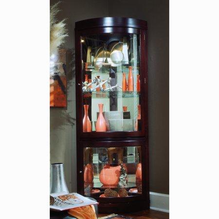 Cherry Carved Curio Cabinet - Sofaweb.com Chocolate Cherry Curved Front Corner Curio Cabinet