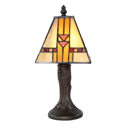 Glass Memory Gift Lamp -  0 - Mosaic Yellow Tiffany Style Stained Glass Adobe Mission - Engraving Sold - Mission Style Mosaic
