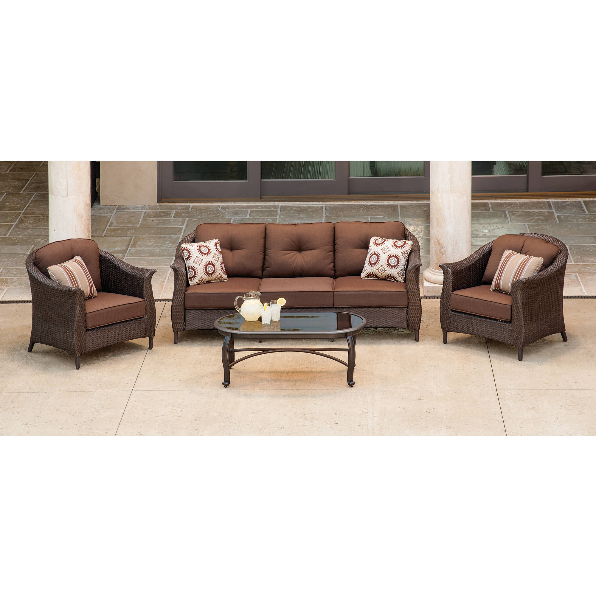 Hanover Outdoor Furniture Gramercy 4-Piece Wicker Patio Seating Set, Brown