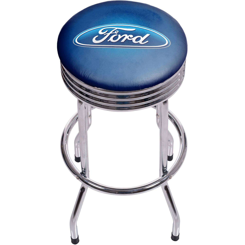 Ford Chrome Ribbed Bar Stool, Ford Oval Logo