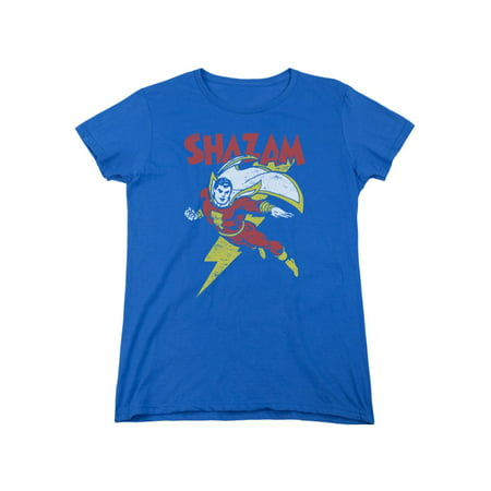 13915effd527 Trevco - Flash Shazam Let s Fly DC Comics Distressed Women s T-Shirt Tee -  Walmart.com