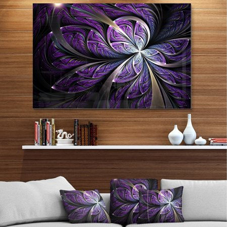 DESIGN ART Glittering Purple Fractal Flower - Large Floral Glossy Metal Wall Art ()
