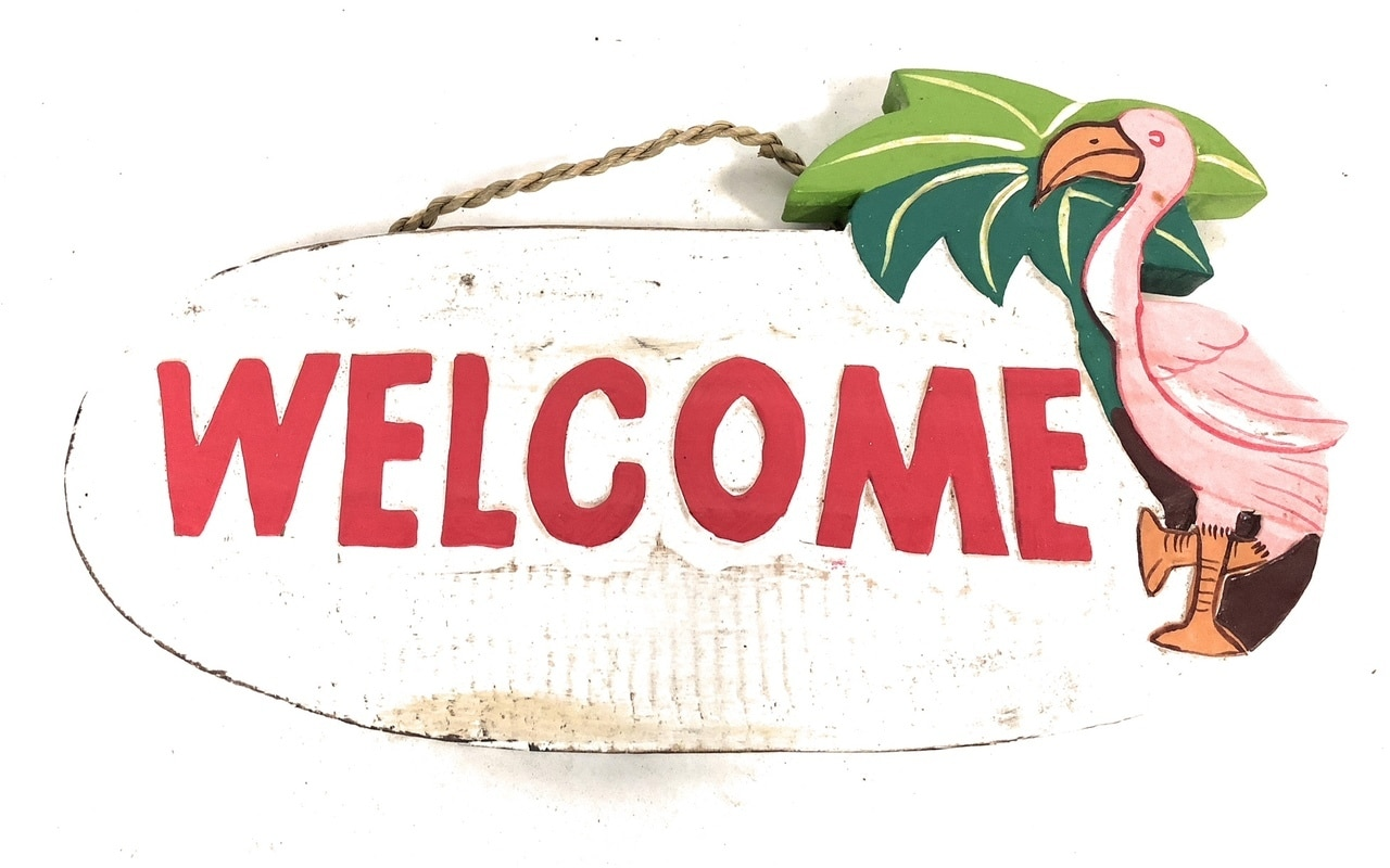 """Welcome"" with Flamingo Sign - Tiki Bar Decor 