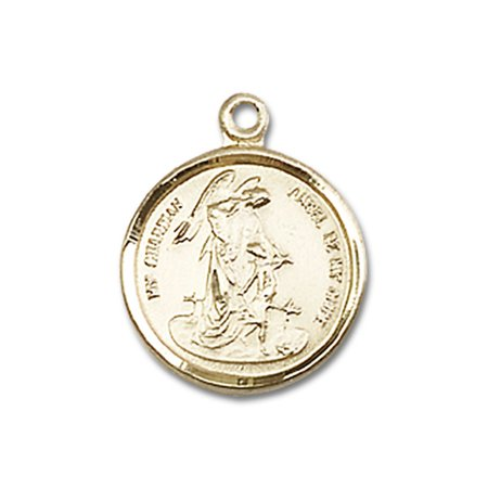 - 14kt Yellow Gold Guardian Angel Medal 5/8 x 1/2 inches
