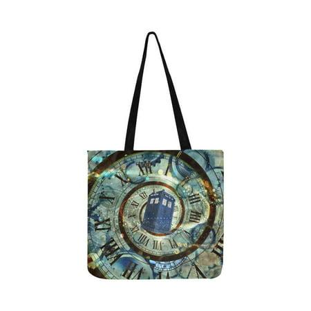 ASHLEIGH Police Box Reusable Grocery Bags Grocery Tote Bag Washable Shopping Bags Shoulder Handbag (Idp Bag)