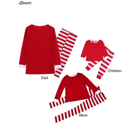 Spencer Family Christmas Pajamas Set Red Top and Striped Long Sleeve Pants Nightgown for Men Women Kids Sleepwear Set