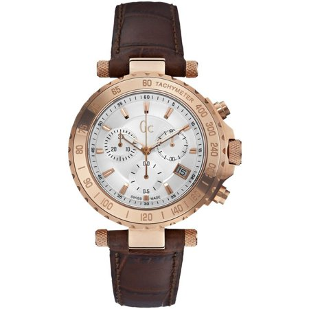 Guess Collection X58004G1S Mens Brown Leather Band With Silver Analog Dial Watch (Guess Mens Bands)