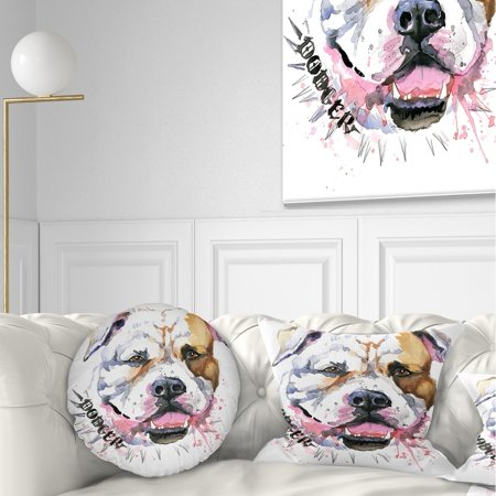 - DESIGN ART Designart 'Cute Dog with Open Mouth' Animal Throw Pillow