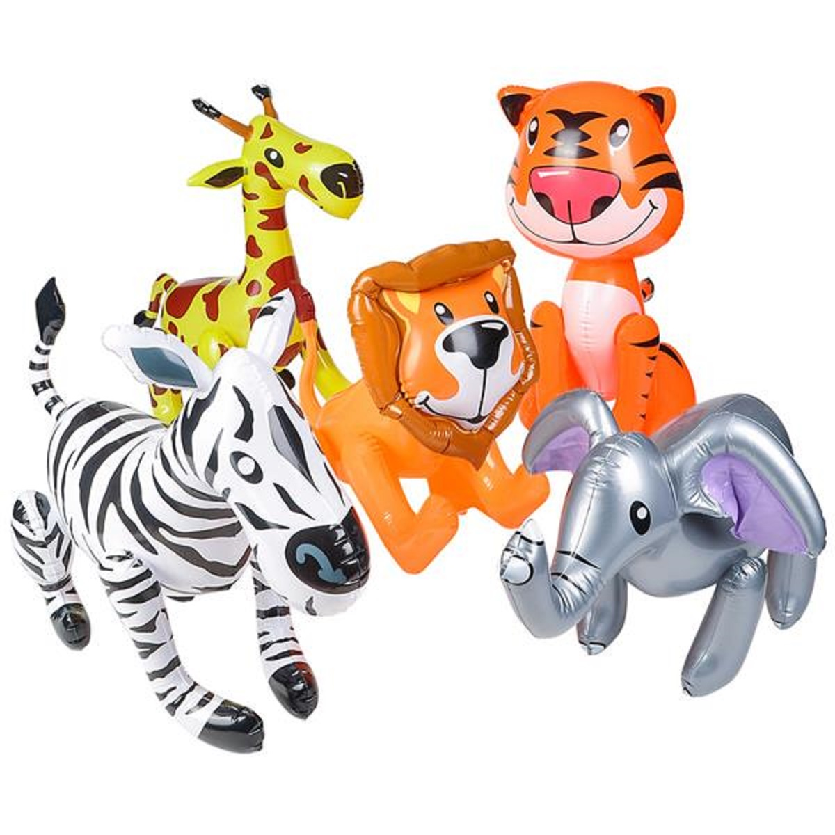 5 Pack Inflatable Safari Zoo Animals Animal Set of 5 Beach Pool Party Float Toy