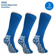 Pack of 3 Pairs - XXXL Non-Skid Bariatric Extra Wide Slipper Socks for People with Diabetes & Edema (Royal Blue)