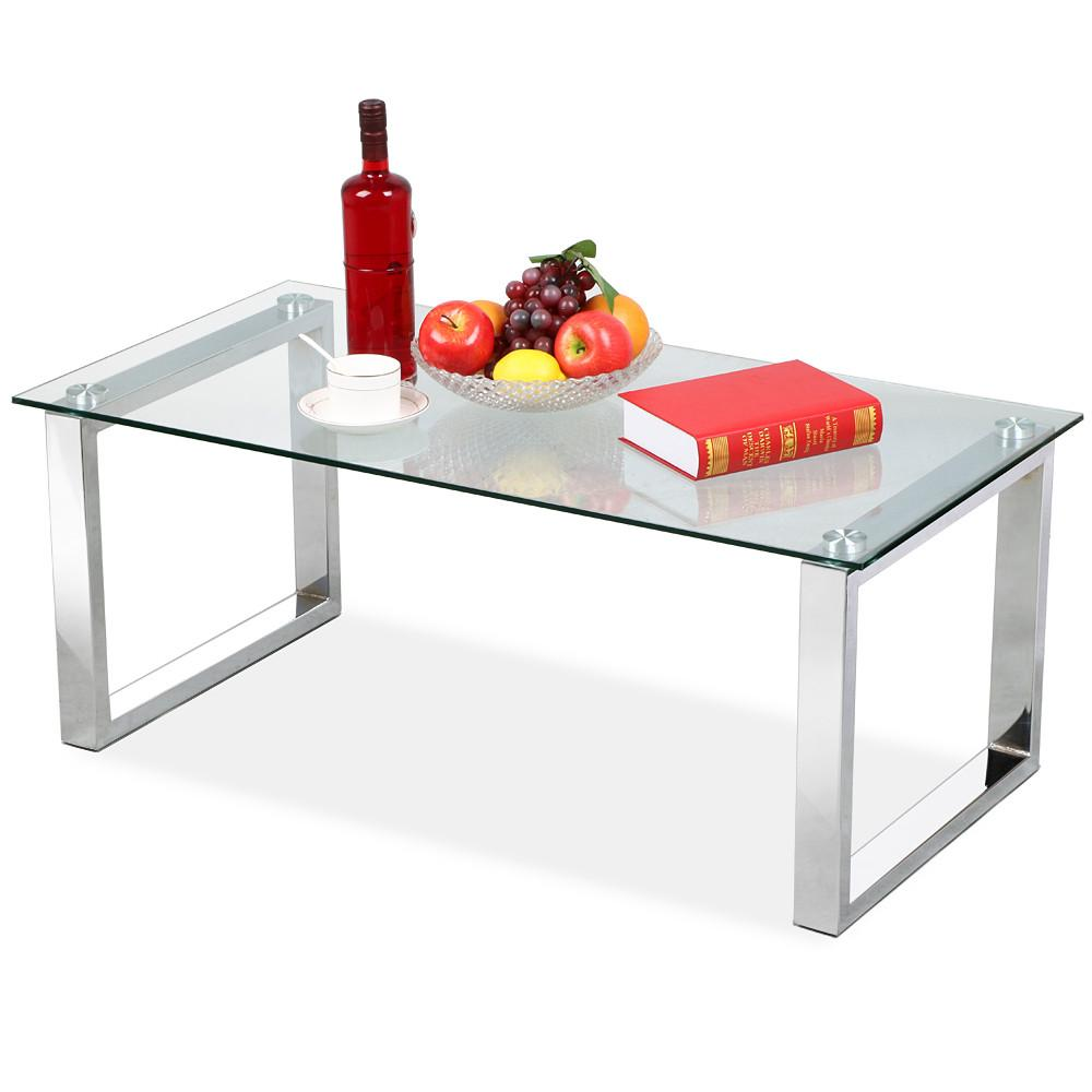 Yaheetech Modern Design Cocktail Coffee Table Tempered Glass Top With  Chrome Finish Legs Living Room Furniture