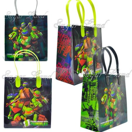 12 Ninja Turtles Party Favor Bags Birthday Candy Treat Favors Gifts Plastic Bolsas De Recuerdo - Ninja Turtle Themed Party