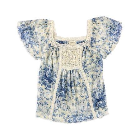 Ralph Lauren Womens Vintage Bib Boho Pullover Blouse jaquelinefloral S