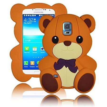 Bastex 3D Character Silicone Case for Samsung Galaxy S5 i9600 - Light Brown Teddy Bear with Bow