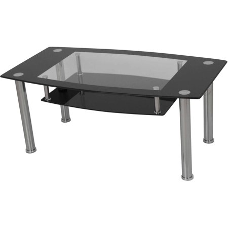 Avf coffee table black glass and chrome t12 a Black and chrome coffee table