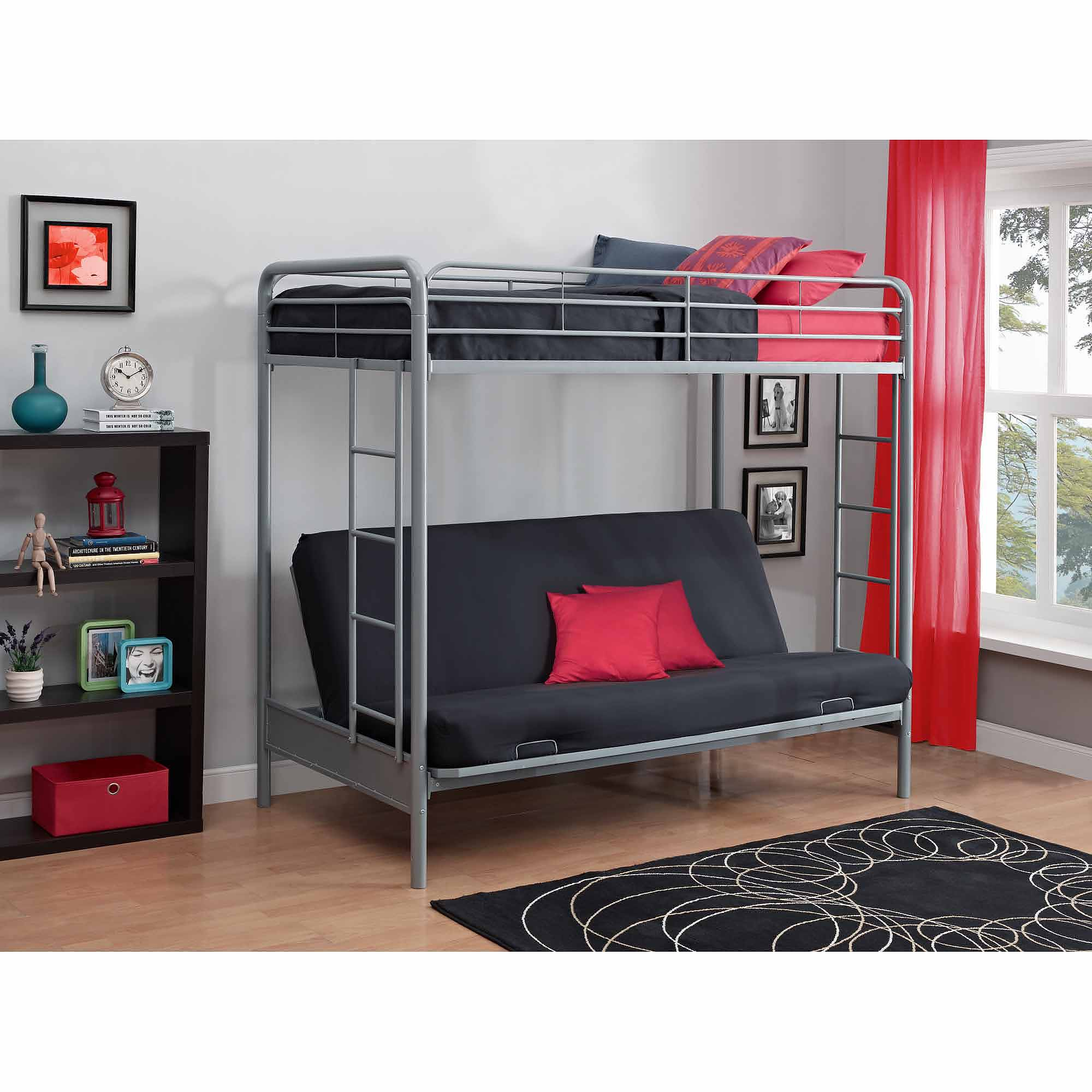 Bunk bed with couch on bottom - Dorel Home Products Twin Over Futon Low Loft Bed With Built In Ladder Walmart Com