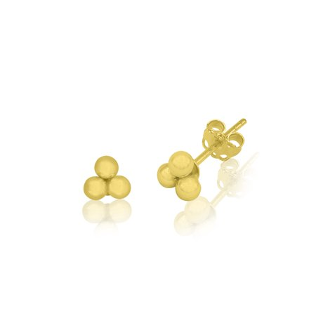 14kt Yellow Gold 3mm Shiny 3-Ball Cluster Stud Earrings