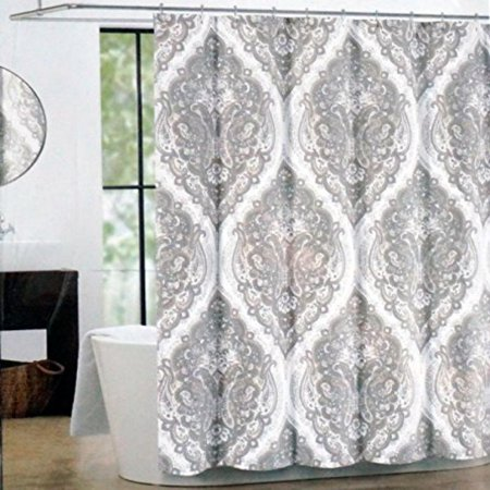 Tahari Fabric Shower Curtain Beige And Gray Paisley Medal
