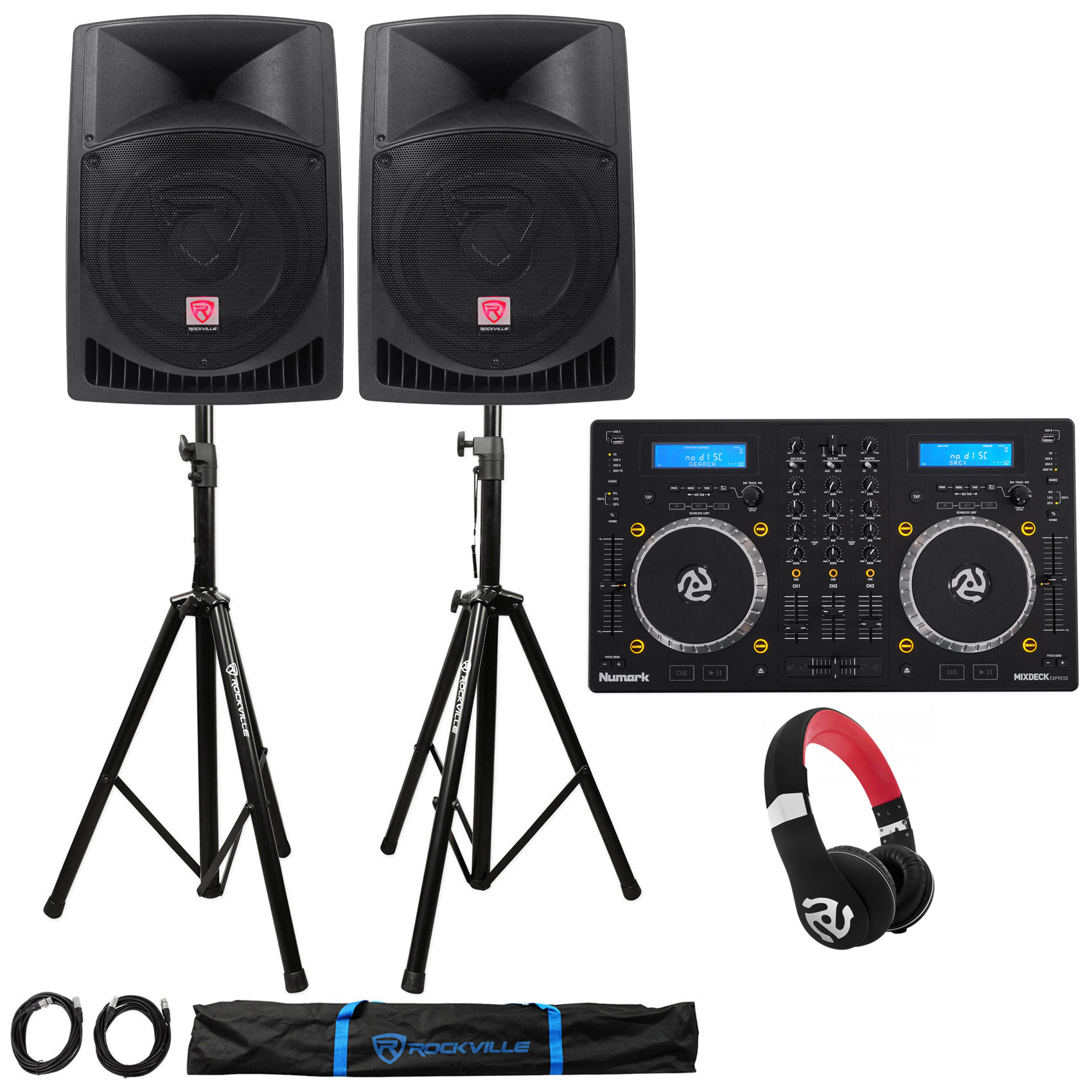 "Numark Mixdeck Express DJ Mixer/Controller+(2) 12"" Speakers+Stands+Headphones"