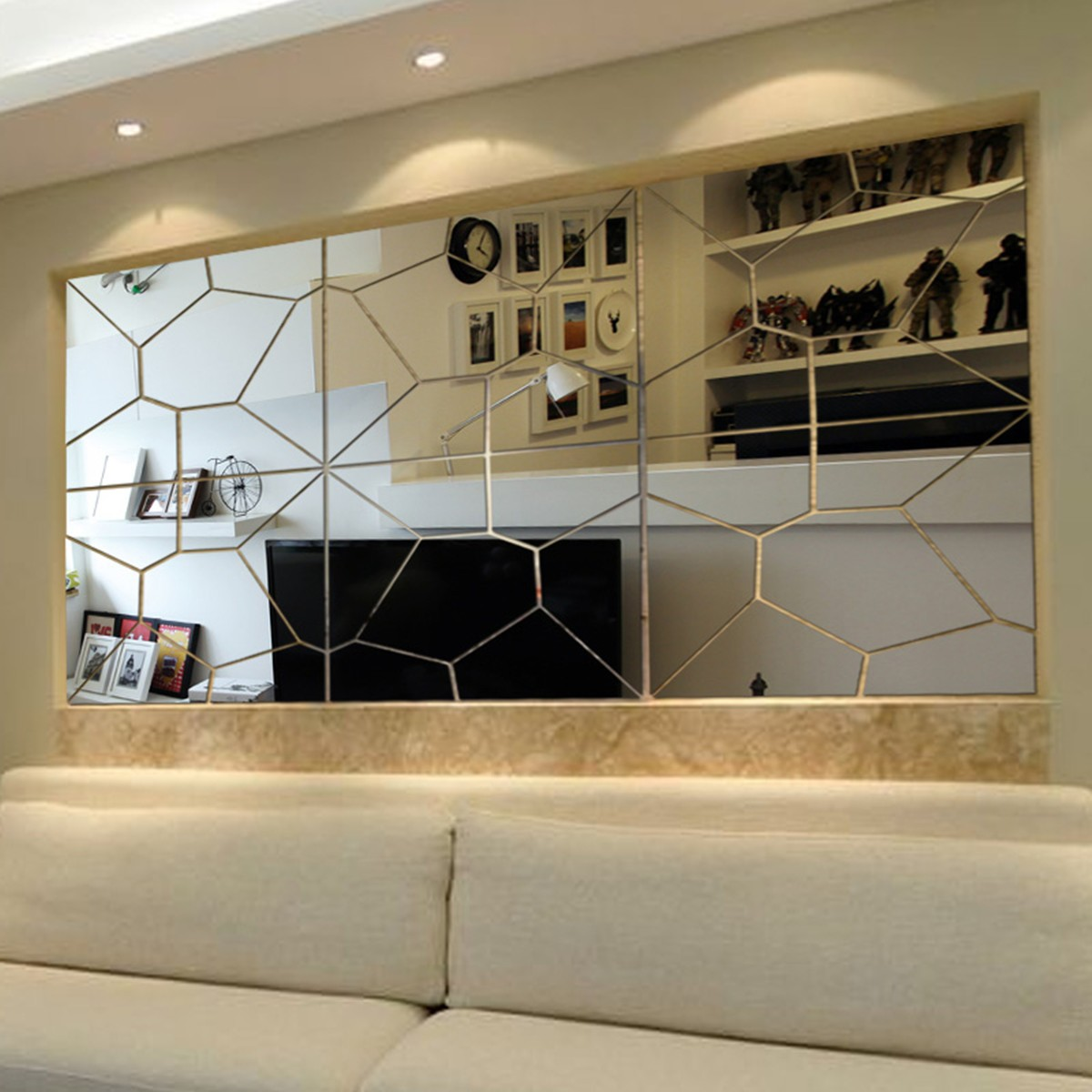 21PCS 3D Acrylic Removable Modern Mirror Decal Art Mural Wall Sticker Home Room Decor DIY