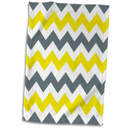 3dRose Blue Gray Yellow and White Chevrons - Towel, 15 by 22-inch ()