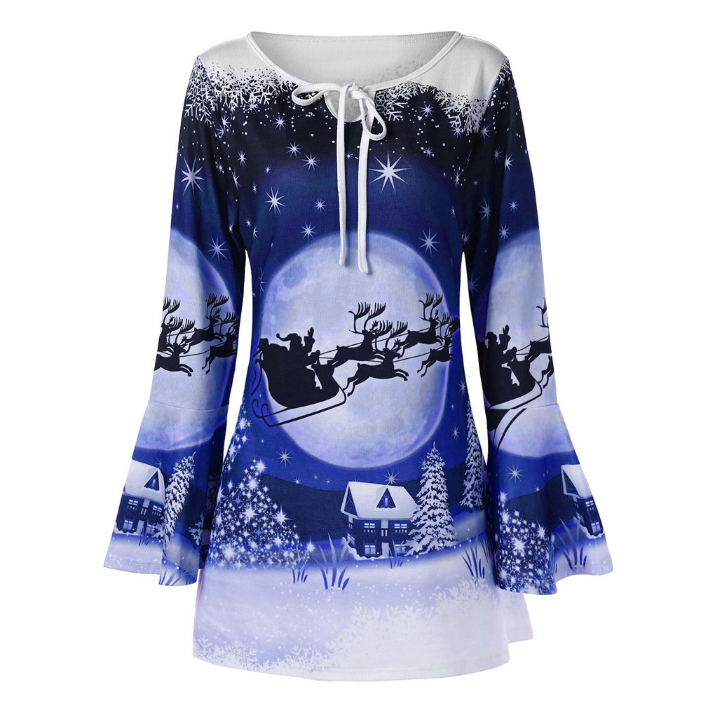 Alough Women Sweater Plus Size Christmas Flare Sleeve Print Shirts Blouse Tops Outfits Womens Clothes