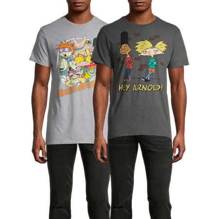Hey Arnold & Nickelodeon Men's and Big Men's Graphic T-Shirt, 2-Pack