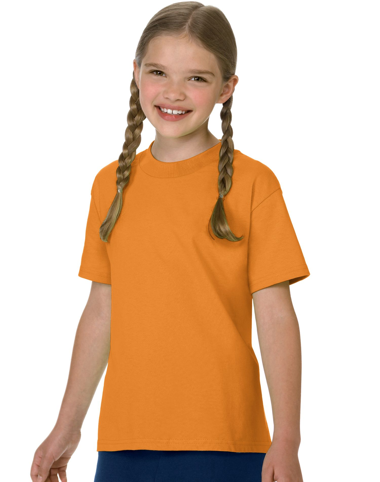 Hanes Authentic TAGLESS Kid`s Cotton T-Shirt, 5450, XL, Athletic Orange