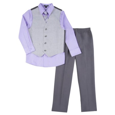 Boys 4 Piece Suit Purple & Gray Dress Up Outfit Holiday Shirt Tie Pants & Vest