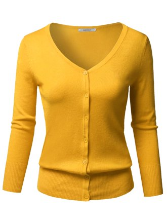 Women   Juniors Crew Neck Light Thin Knit Button Down Sweater ... 75c8ea1e8