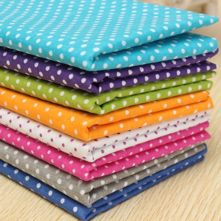7-assorted Cotton Cloth Dot Point Cotton Fabric Pre-Cut Quilt Sewing Craft Fabric Fat Quarter Bundle Patchwork Quilting DIY Craft Sewing Handmade Accessory 20'' x 20'' ()