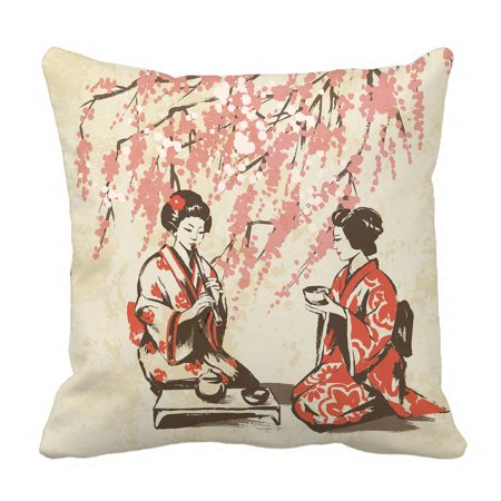 YKCG Traditional Japan Girls Having Tea Spring Oriental Cherry Blossom Branches Pillowcase Pillow Cushion Case Cover Twin Sides 18x18 inches