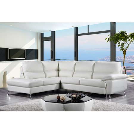 Cortesi Home Contemporary Miami Genuine Leather Sectional Sofa With