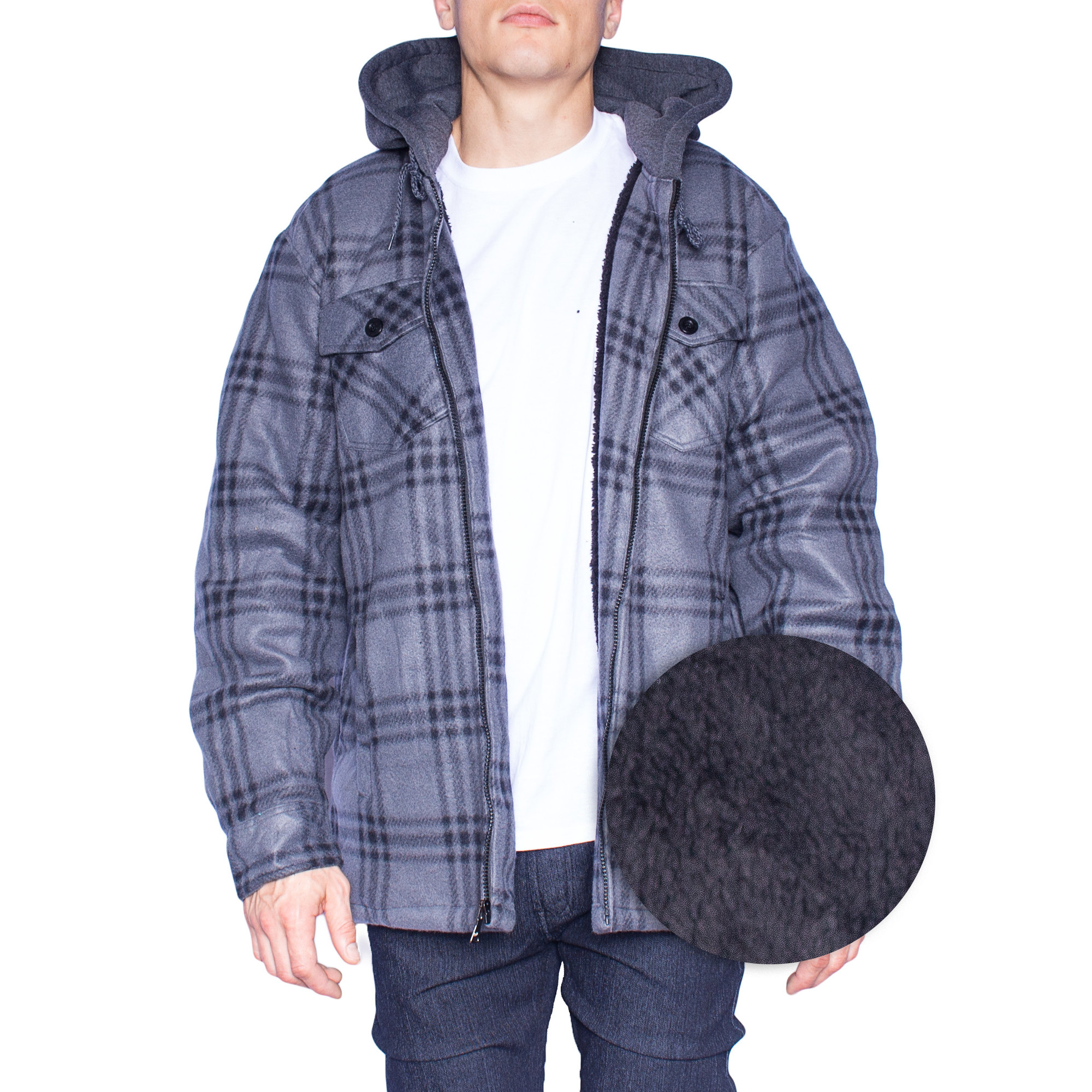 Hoodie Flannel Fleece Jacket For Men Zip Up Big & Tall Lined Sherpa Sweat Shirts (XX-Large,Grey/Black)