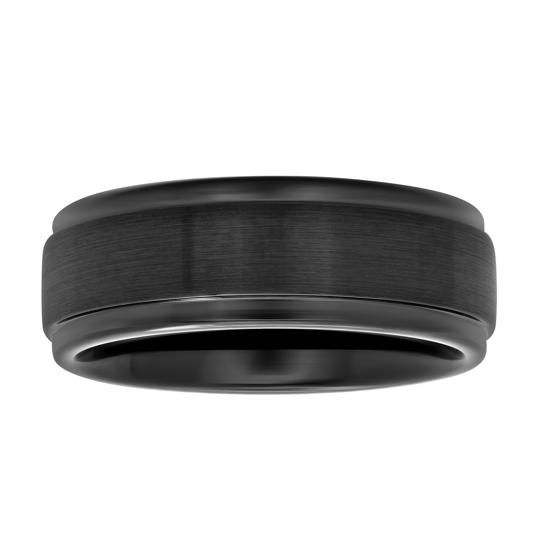 Men's Black IP Tungsten 8MM Step Edge Comfort Fit Wedding Band - Mens Ring
