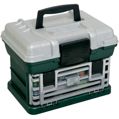 Plano Fishing Tackle Box, Two-By Rack System, Tackle Box, Metallic Green Silver by Plano Molding Company