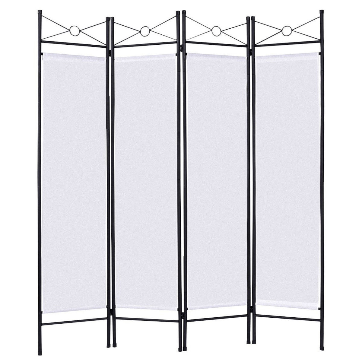 Costway White 4 Panel Room Divider Privacy Screen Home Office Fabric