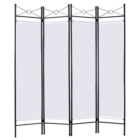 4 Panel Screen China - Costway White 4 Panel Room Divider Privacy Screen Home Office Fabric Metal Frame