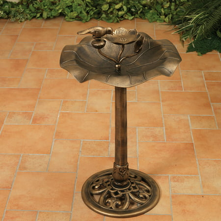 32-Inch Tall Antique Style Birdbath with Bronze Finish ()