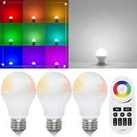 TORCHSTAR Smart LED Light Bulb, 6W A19 Colored Bulb with Remote Controller, E26 Base Dimmable White for showcase, residential, office,hotel, set of 3
