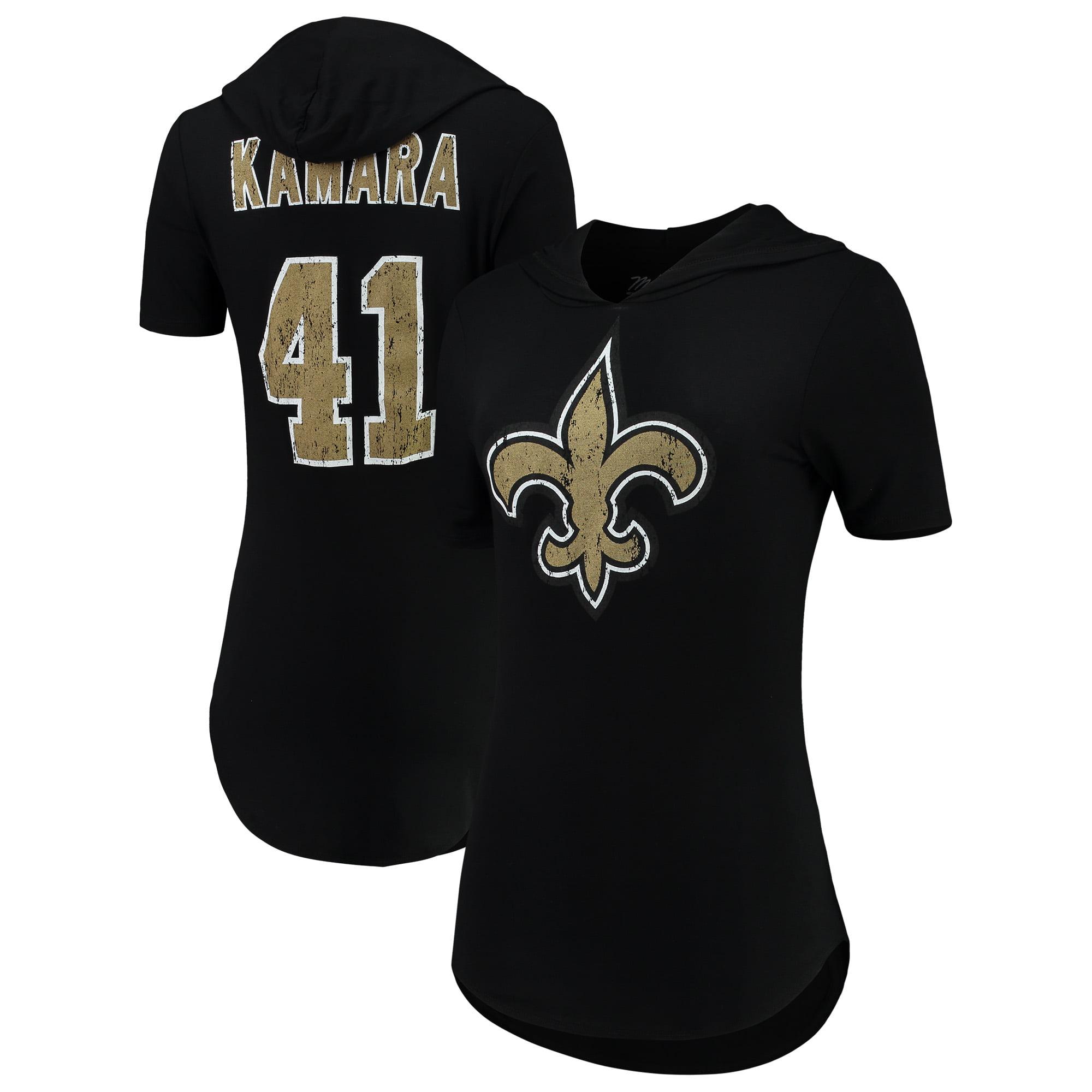 Alvin Kamara New Orleans Saints Majestic Threads Women's Hilo Name & Number Hooded T-Shirt - Black