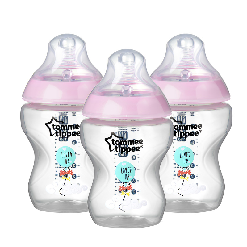 Tommee Tippee Closer to Nature Baby Bottles, 9 ounce, 3 pack Pink by Tommee Tippee