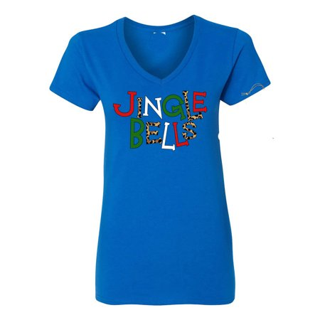 Image of Merry Christmas Jingle Bells Leopard Print Womens Graphic Tees V Neck