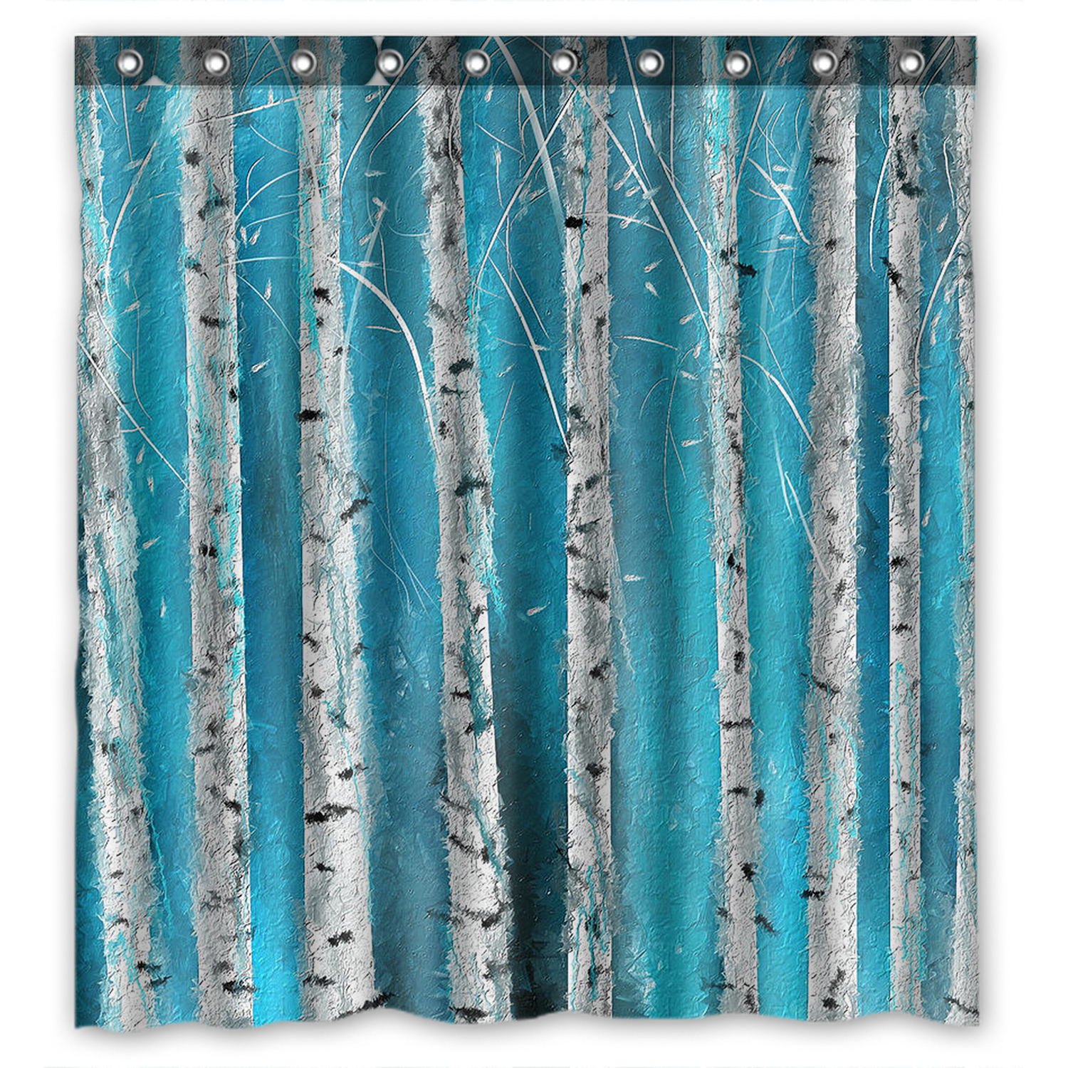 YKCG Home Bathroom Winter White Fabric Birch Tree Hooks-Foggy Forest Road Waterproof Fabric Bathroom Shower Curtain 66x72 inches